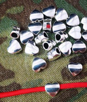 Metalowy koralik srebrne serce