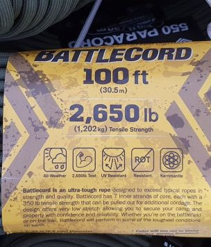 Tactical Battlecord 2650 USA made cordage 5,6mm