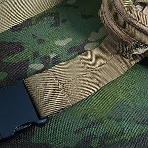 50mm waist belt with 2 rows of 3cell MOLLE webbing on each side (fixed waist belt)